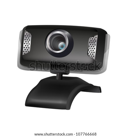 illustration of black webcam - stock vector