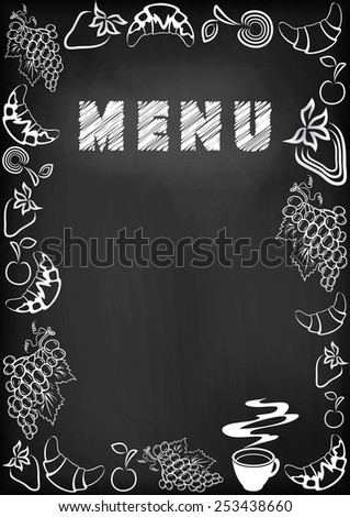 Illustration of blackboard with chalked menu, food frame and coffee cup  - stock vector