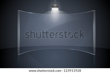 illustration of blank display board with stand and focus light - stock vector