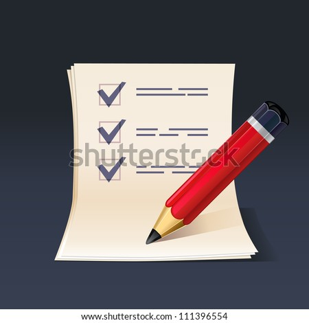 illustration of blank paper and pencil. Check list - stock vector