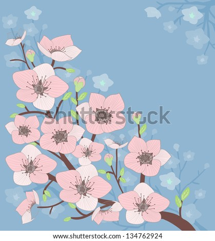 illustration of blooming  tree, vector, eps 10 - stock vector