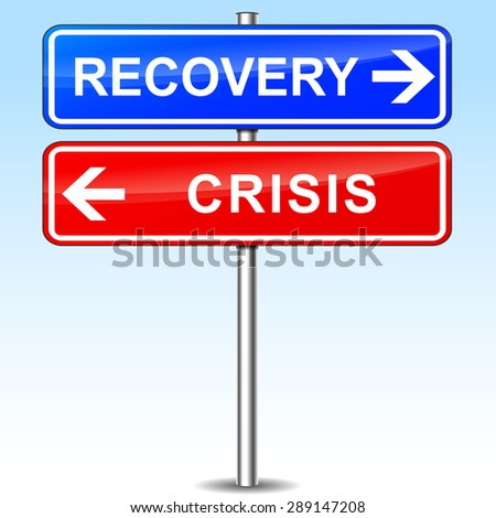illustration of blue and red arrows for recovery