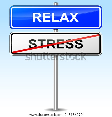 illustration of blue and white sign for relax