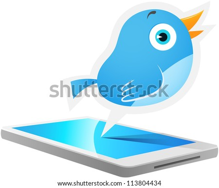 Illustration of Blue Bird talking out from smart phone - stock vector