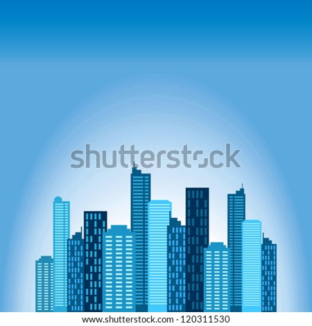 Illustration of blue buildings - stock vector