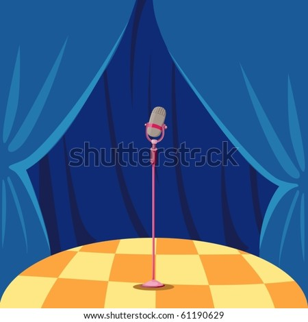 illustration of blue curtain and microphone on a stage - stock vector