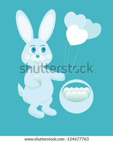illustration of blue easter bunny with basket and eggs.
