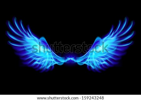 Illustration of blue fire wings on balck background. - stock vector