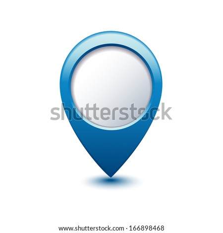 illustration of blue navigation marker with shadow. - stock vector