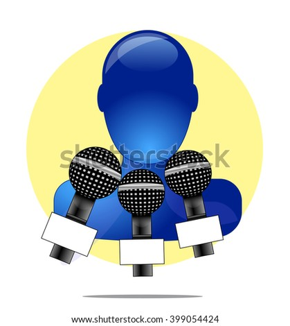 Illustration of blue person with three microphones with yellow circle background - stock vector