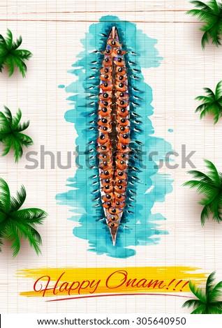 illustration of Boat Race of Kerla on Onam - stock vector