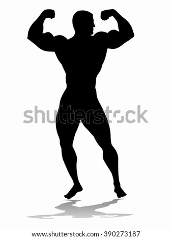 illustration of bodybuilder. black silhouette on a white background