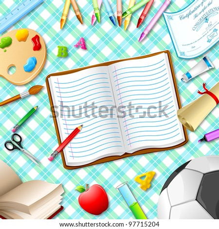 illustration of book,pen,pencil and other stationery on table - stock vector