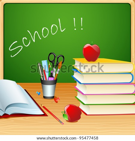 illustration of books with apple and stationery in front of chalk board - stock vector