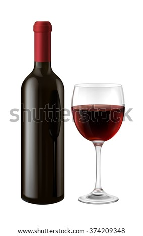 Illustration of  bottle and glass of red wine, EPS 10 contains transparency.  - stock vector