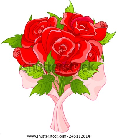 Illustration of bouquet of roses - stock vector