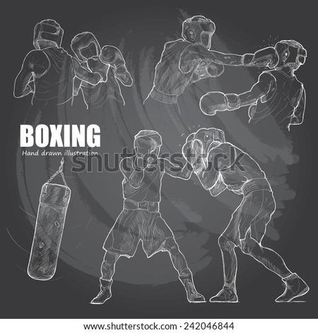 illustration of Boxing. hand drawn. - stock vector