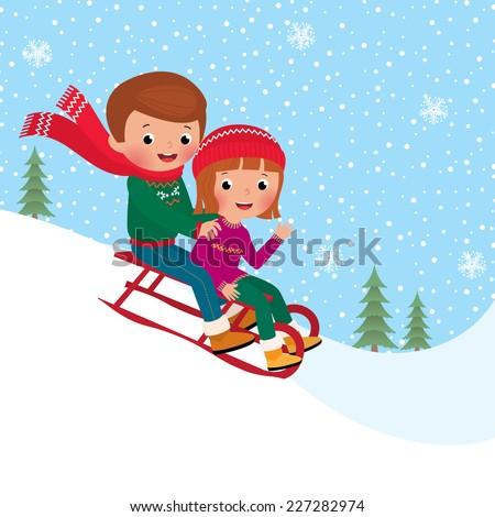 Illustration of boy and girl children sledding together/Kids sledding/Friends sledding down from a slope - stock vector