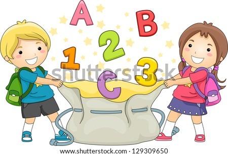 Illustration of Boy and Girl Kids holding a large bag catching ABC's and 123's - stock vector