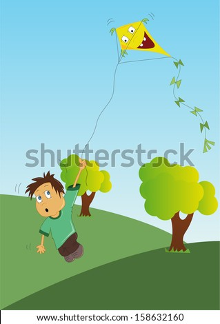 Illustration of boy is flying a kite (vector)