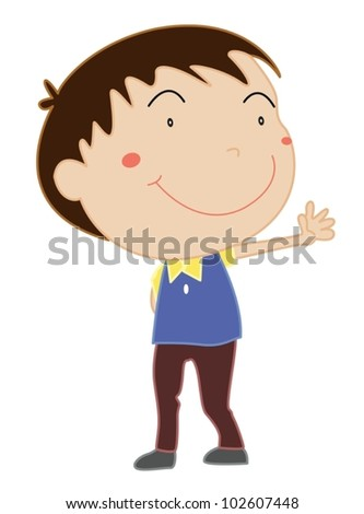 Illustration of boy standing on white