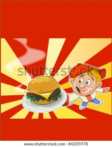 Illustration of boy with burger - stock vector