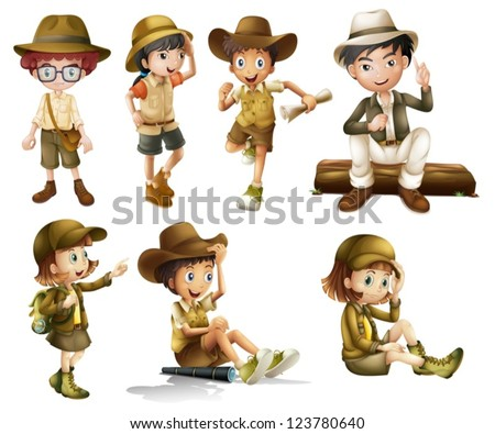 Illustration of boys and girls in safari costume on a white background - stock vector