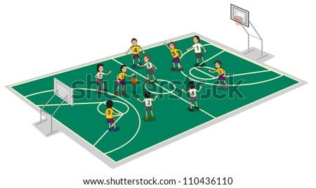 illustration of boys playing basket ball on ground - stock vector