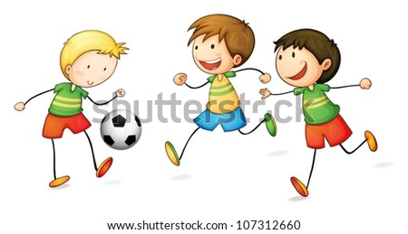 illustration of boys playing football on a white background - stock vector
