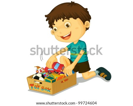 Illustration of boys with his toys - stock vector