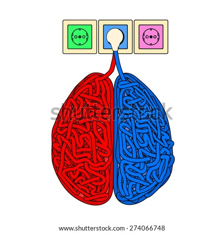 Illustration of brain in the form of tangled electric cables. - stock vector