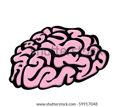 Illustration of Brain isolated on white background - stock vector