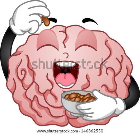 Illustration of Brain Mascot Eating Peanuts - stock vector