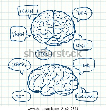 Illustration of brains with think bubbles. Hand drawn style. - stock vector