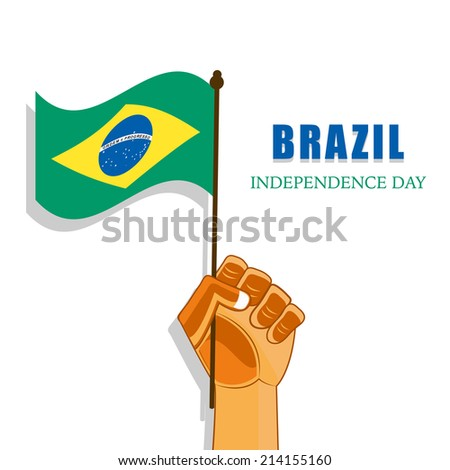 Illustration of Brazil Flag with Hand for Independence Day - stock vector