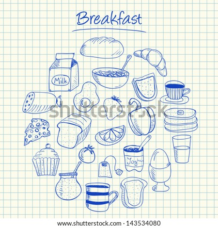 Illustration of breakfast ink doodles on squared paper - stock vector