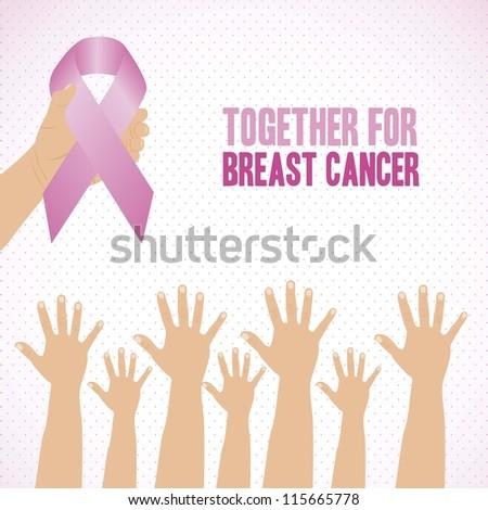 Illustration of breast cancer, awareness ribbon, vector illustration - stock vector