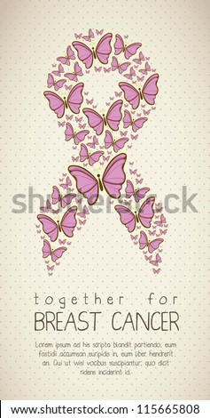 Illustration of breast cancer, butterfly awareness ribbon, vector illustration - stock vector