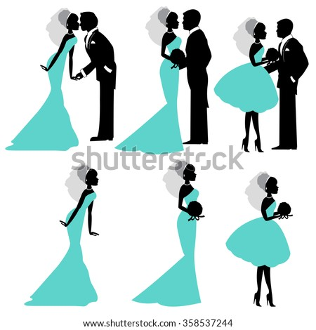 Illustration of bride and groom in silhouette vector format - stock vector