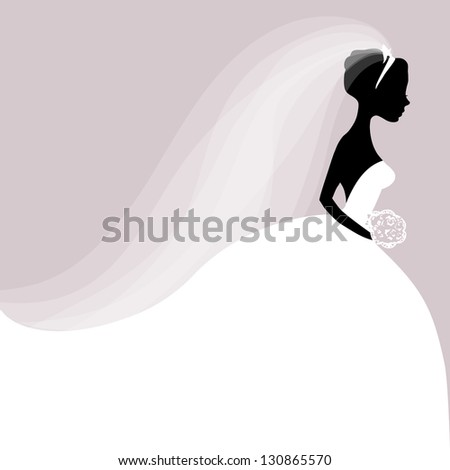 Illustration of Bride in white dress - stock vector