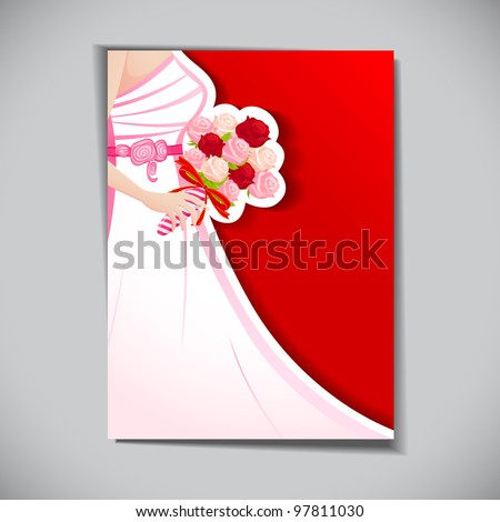 illustration of bride with rose bouquet in wedding card - stock vector