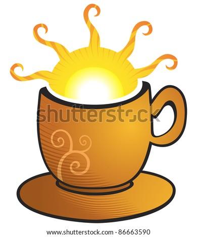 Illustration of bright hot sun inside cup - stock vector