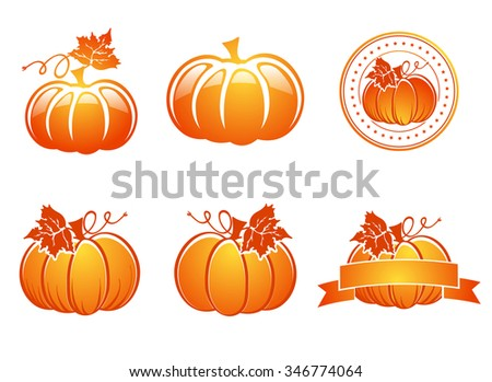 Illustration of Bright Orange Pumpkin Set Over White Background - stock vector