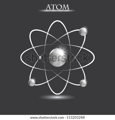 Illustration of bright silver atoms - stock vector