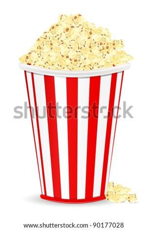 illustration of bucket full of popcorn on white background - stock vector