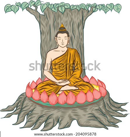 illustration of Buddha, isolated on white ,Buddha's enlightenment - stock vector
