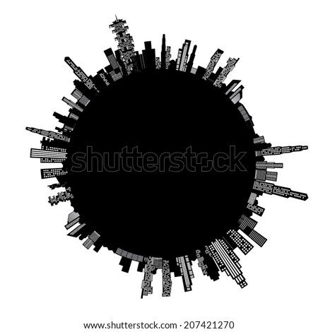 Illustration of building around the world. - stock vector
