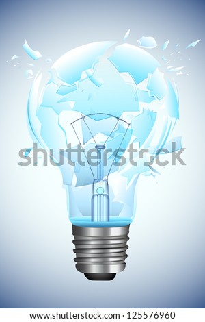 illustration of bulb broken into pieces on abstract background - stock vector