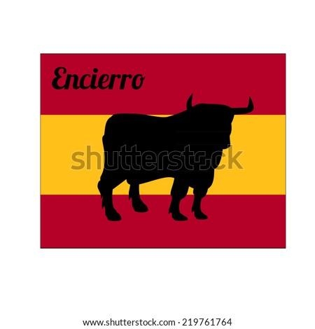 Illustration of bull silhouete, spain flag - stock vector