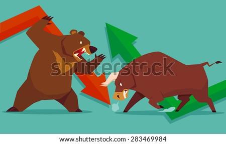Illustration of bull vs bear symbol of stock market trend  - stock vector